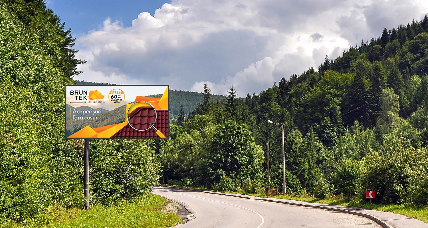 Blank,Billboard,Sign,By,Empty,Highway,Through,Forest,Mountains,Landscape.